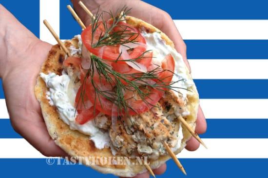 Broodje Souvlaki met Griekse vlagkopie