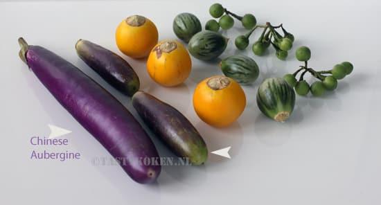 Aubergines in allerlei groottes