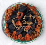Gedroogde aubergine en paprika